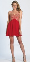 Dave and Johnny Sweetheart Spaghetti Strap Embroidered Empire Cocktail Dress