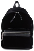 Saint Laurent Mini City Velour Backpack - Black