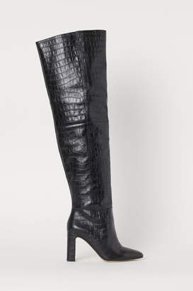 H&M Leather Thigh-high Boots - Black
