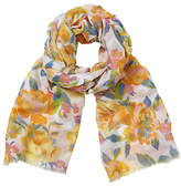 John Lewis New Summer Rose Floral Print Scarf, Yellow/Multi