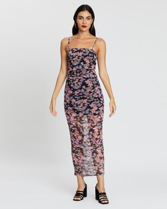 boohoo Floral Print Mesh Ruched Midaxi Dress