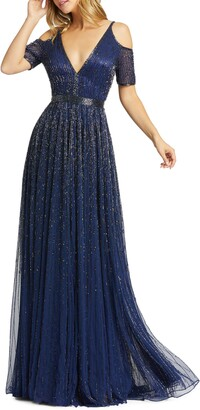 Mac Duggal Beaded Cold Shoulder Chiffon A-Line Gown