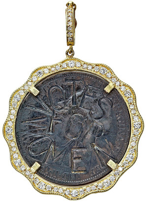 Farah Tanya Modern Etruscan Suffragette Coin Pendant w/ Diamonds