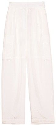 Tibi Crispy Nylon Pleated Cargo Pant in White