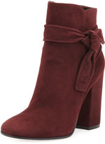 Gianvito Rossi Leslie Suede Ankle-Tie Bootie, Royale Red