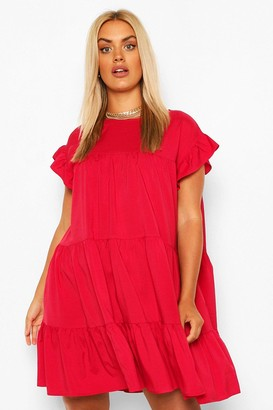 boohoo Plus Tiered Ruffle Smock Dress