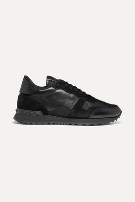 Valentino Garavani Rockrunner Leather And Suede-trimmed Camouflage-print Canvas Sneakers - Black