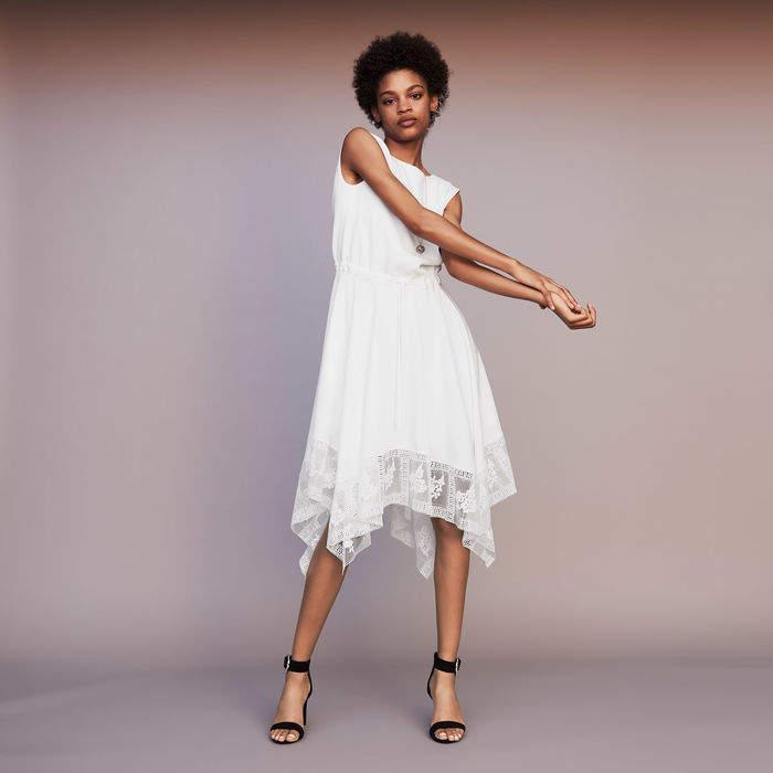 Maje Long sleeveless dress with lace