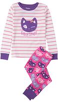 Hatley Children's Feline Sleepy Applique Pyjamas, Pink