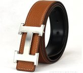 """A. T A&T TA Mens H-Frame Buckle Leather Belt Coffee Silver Buckle 130CM(40""""-42"""" Waist Size)"""