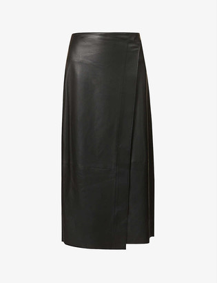 Vince Wrap high-waist leather midi skirt