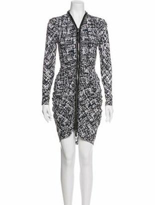 Alexander McQueen Ruched Printed Dress grey