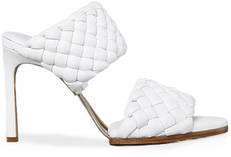 Bottega Veneta Lido Leather Woven Sandals in Optic White | FWRD