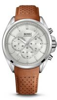 Hugo Boss 1513118 Chronograph Brown Perforated Leather Strap Driver Watch One Size Assorted-Pre-Pack