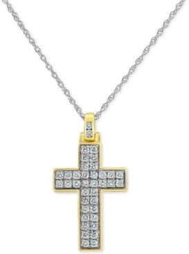"""Forever Grown Diamonds Lab-Created Diamond Cross 18"""" Pendant Necklace (3/4 ct. t.w.) in Sterling Silver & Yellow Rhodium-Plate"""