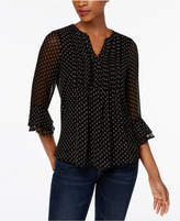 Charter Club Petite Split-Neck Pintuck-Pleat Top, Created for Macy's