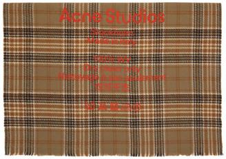 Acne Studios Beige and Brown Wool Tartan Check Scarf