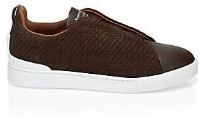 Ermenegildo Zegna Men's Triple-Stitch Leather Sneakers