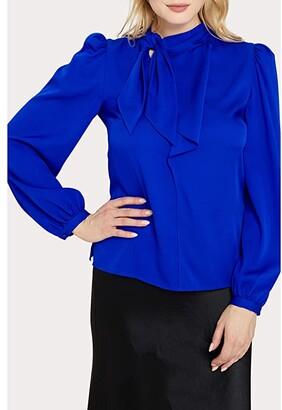 Milly Stretch Silk Ashlyn Top (Cobalt) Women's Clothing