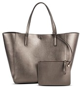 Merona Women's Reversible Faux Leather Tote with Removable Pouch