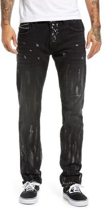 Cult of Individuality Men's Rocker Paint Splatter Slim Fit Jeans
