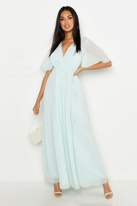 boohoo Chiffon Angel Sleeve Wrap Maxi Bridesmaid Dress