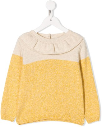 Knot Contrast Long-Sleeve Sweater