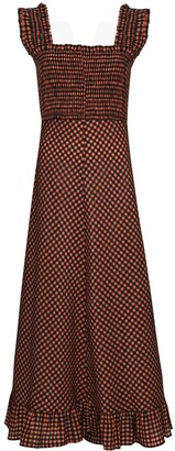 Ganni Check-Pattern Smocked-Waist Maxi Dress