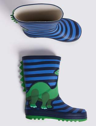 Marks and Spencer Kids' Dinosaur Striped Wellies (5 Small - 12 Small)