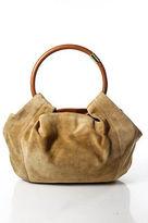 Sergio Rossi Beige Suede Hobo Shoulder Handbag
