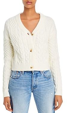 Vox Footwear Lux Cropped Mixed-Cable Cardigan Sweater