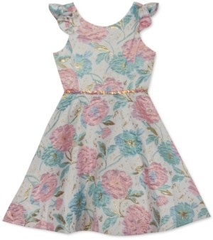 Rare Editions Little Girls Floral-Print Brocade Dress