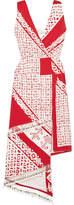 Altuzarra Pavilion Embellished Wrap-effect Printed Silk Midi Dress - Red