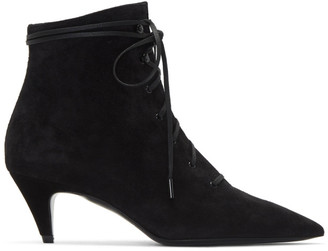 Saint Laurent Black Kiki 55 Lace-Up Boots