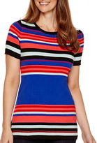 Liz Claiborne Short-Sleeve Ribbed Striped Sweater