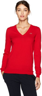 Lacoste Women's Classic Cotton V Neck Sweater