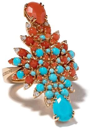 Pasquale Bruni 18kt yellow gold Ghirlanda diamond and gemstone ring