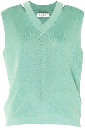 Paisie V-Neck Sleeveless Top With Cut Out Neck In Green