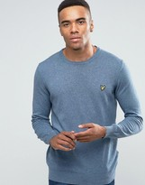 Lyle & Scott Crew Jumper Cotton Merino In Blue Marl
