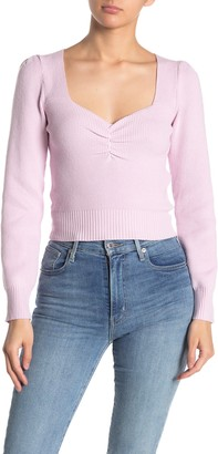 ASTR the Label Long Sleeve Sweetheart Neck Cropped Sweater