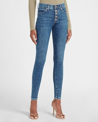 Express Mid Rise Exposed Button Fly Skinny Jeans