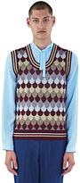 Gucci Men's Lurex Jacquard Tank Top In Burgundy, Gold And Silver