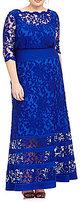 Tadashi Shoji Plus Illusion Lace Blouson Gown
