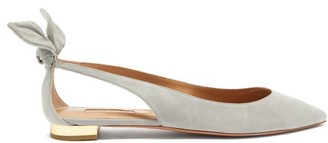 Aquazzura Deneuve Bow-embellished Suede Ballerina Flats - Grey