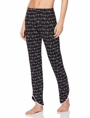 Lovable Women's Black and White Viscose Pajama Bottom