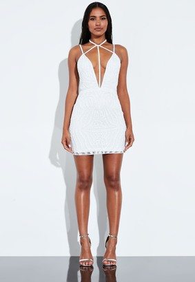 Missguided White Harness Neck Embellished Mini Dress
