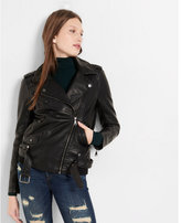 Express minus The) Leather Elongated Moto Jacket