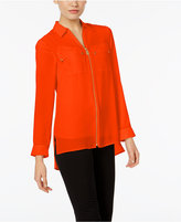MICHAEL Michael Kors High-Low Zip-Up Blouse