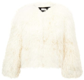 Saint Laurent Single-breasted Curly-shearling Jacket - White