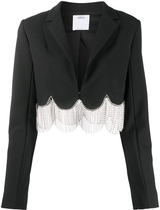 Area Crystal-Embellished Scalloped Cropped Blazer